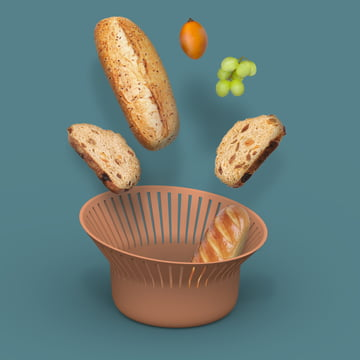 Ruff Bread Basket from Ommo in Terracotta