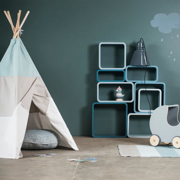 Cube Shelf by Sebra in Cloud Blue