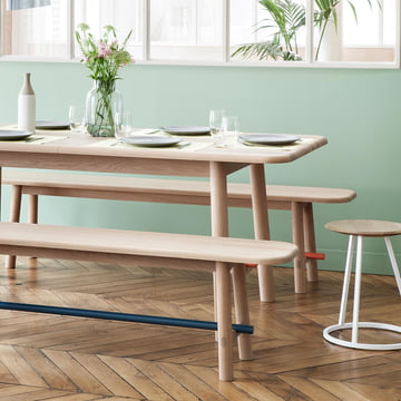 The Hélène Dining Table and the Hector Bench by Hartô
