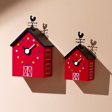 The KooKoo - RedBarn wall clock farm animals in large and small.