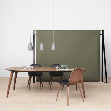 Dining Table by Gubi with Chairs and Pendant Lights