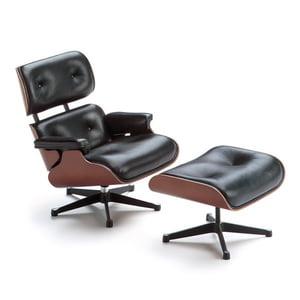 Eames Lounge Stoel.Vitra Eames Lounge Chair Ottoman Walnut White